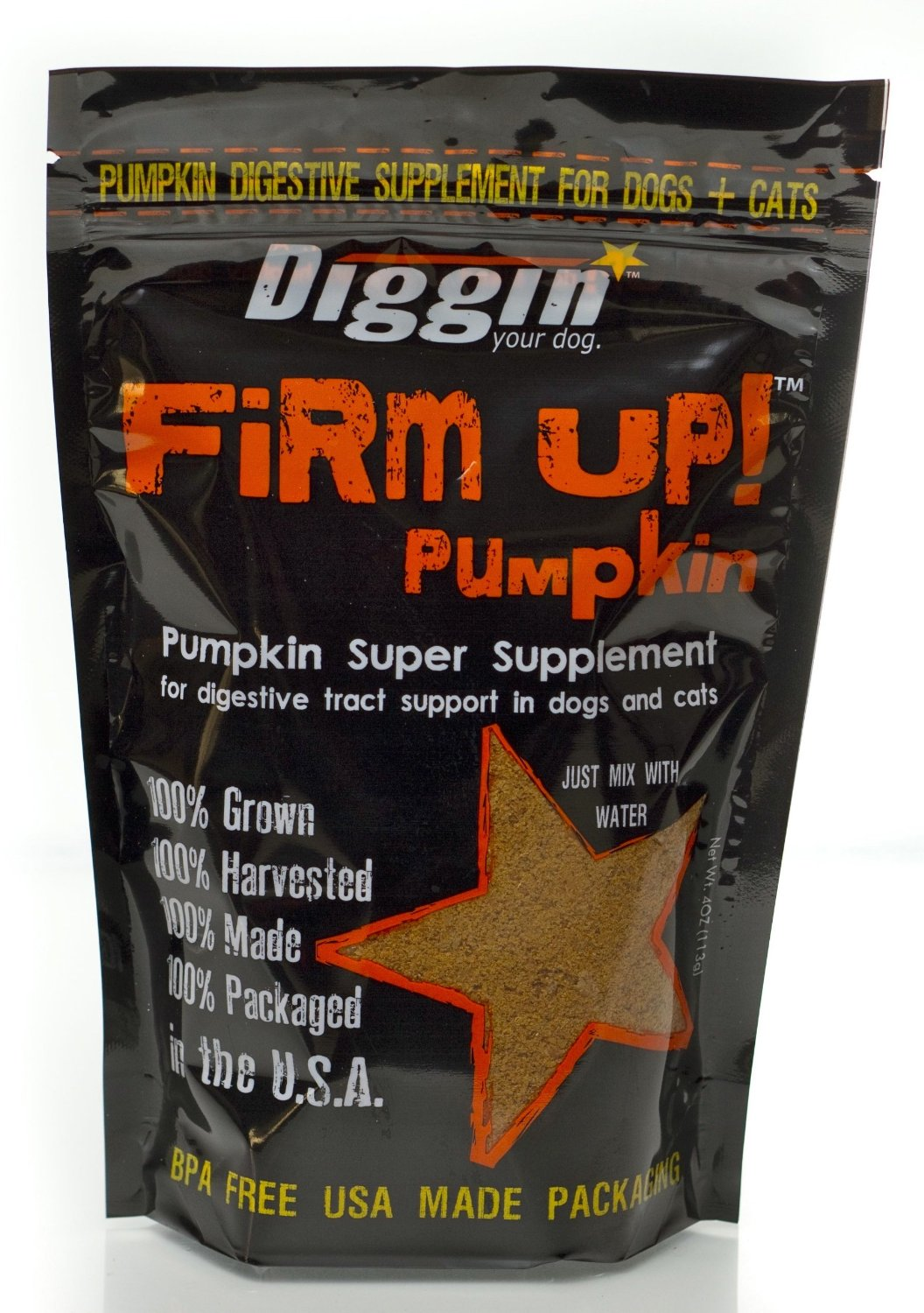 Diggin' Your Dog Firm Up Pumpkin Super Supplement for Digestive Tract Health for Dogs