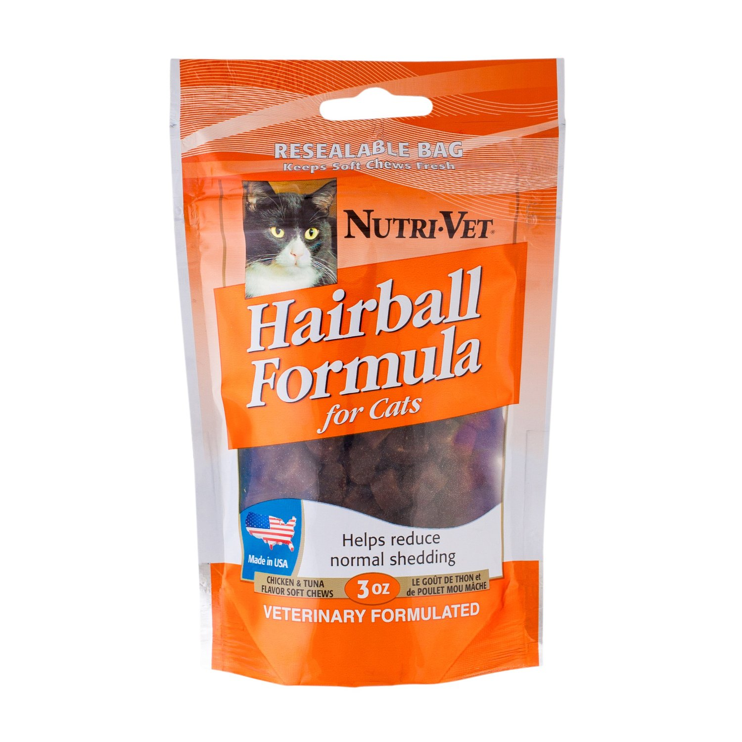 Nutri-Vet Hairball Formula Chicken and Tuna Flavor Soft Chews for Cats