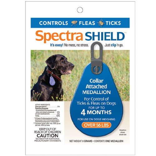 Spectra Shield Collar Attached Medallion & Tick Control on Dogs