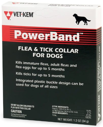 Vet Kem Power Band Flea and Tick Collar for Dogs